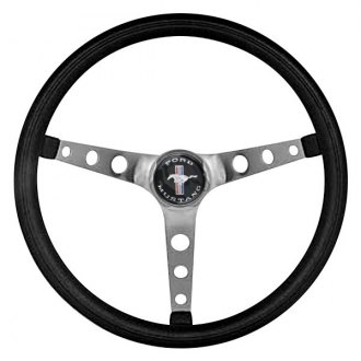 Grant® - 3-Spoke Brushed Stainless Steel Design Classic Nostalgia Series Steering Wheel with Black Cushioned Foam Grip