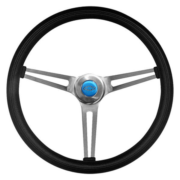 Grant® - 3-Spoke Brushed Stainless Steel Design Classic Nostalgia Series Steering Wheel with Black Cushioned Foam Grip and Chevrolet Horn Button