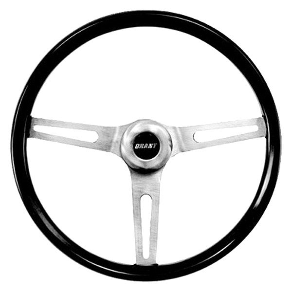 Grant® - 3-Spoke Brushed Stainless Steel Design Classic GM Series Steering Wheel with Mahogany Wood Grip