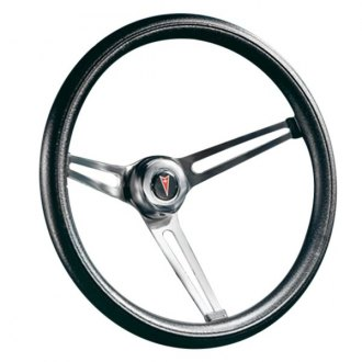 Grant® - 3-Spoke Brushed Stainless Steel Design Classic Combination Style Steering Wheel with Black Cushioned Foam Grip