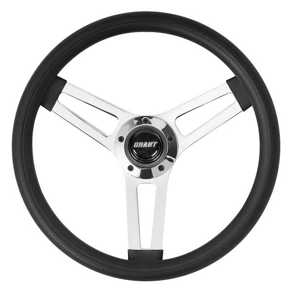 Grant® - 3-Spoke Chrome Steel Design Classic 5 Series Steering Wheel with Black Cushioned Foam Grip