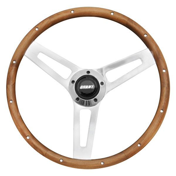 Grant® - 3-Spoke Chrome Steel Design Classic 5 Series Steering Wheel with Walnut Hardwood Grip