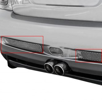GrillCraft® - 2-Pc MX Series Silver Powder Coated Fine Mesh Rear Bumper Grille