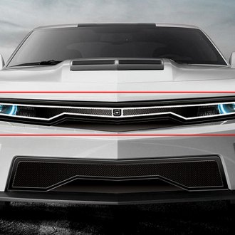 Image may not reflect your exact vehicle! Chevy Camaro DJ Grilles - Predator Hidden Headlight Mesh Grille
