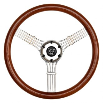 GT Performance® - GT5 Retro Style Wood Steering Wheel with Banjo Finish Spokes