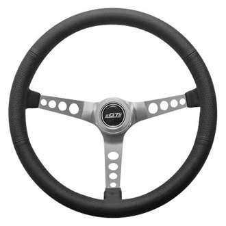 GT Performance® - 3-Spoke GT3 Retro Mustang Style Black Leather Steering Wheel