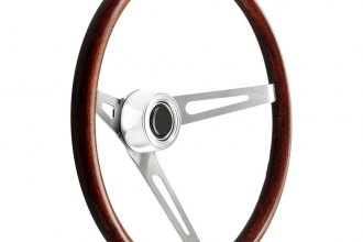 GT Performance® - GT3 Retro Dark Wood Brushed Stainless Steel Steering Wheel