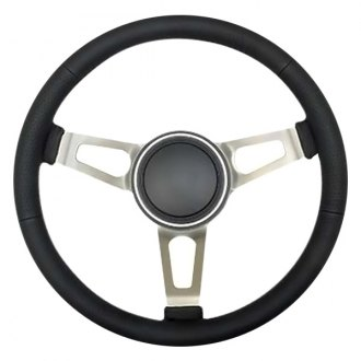 GT Performance® - 3-Spoke GT3 Retro Tuff Style Black Leather Steering Wheel
