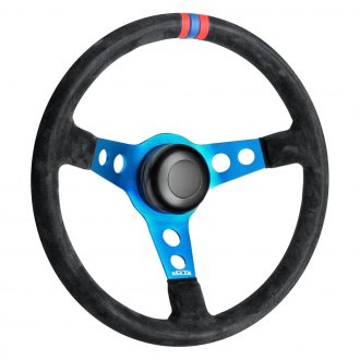 GT Performance® - 3-Spoke GT3 Pro-Touring Drift Design Suede Leather Steering Wheel with Red-Blue-Red Top Marker