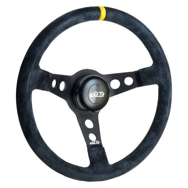 GT Performance® - GT3 Pro-Touring Drift Design Black Spokes Suede Leather Steering Wheel with Yellow top Marker
