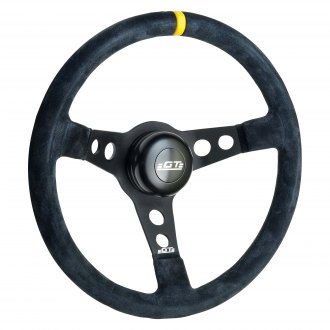GT Performance® - GT3 Drift Black Spokes Suede Steering Wheel with Yellow top Marker