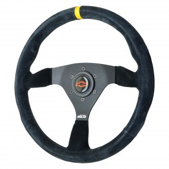 GT Performance® - GT3 Pro-Touring Euro Switchback Suede Steering Wheel with Yellow top Marker