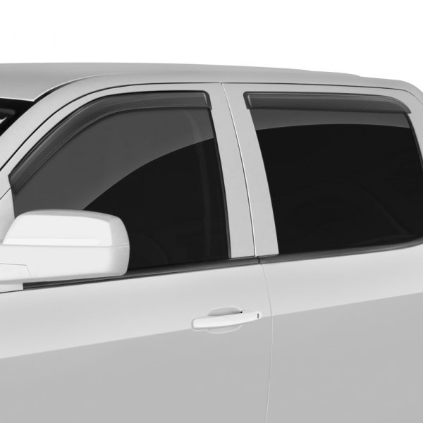 Image may not reflect your exact vehicle! GTS® - Front and Rear Carbon Fiber Ventgard™ Sport Window Deflectors
