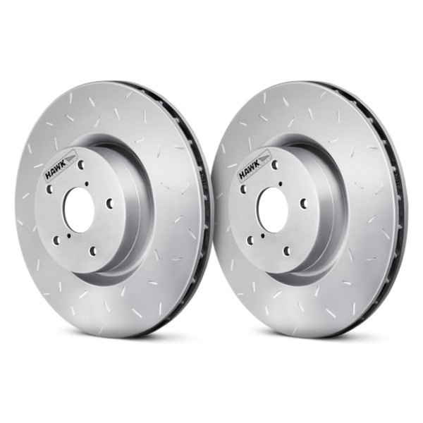 Image may not reflect your exact vehicle! Hawk® - Quiet Slot™ Rotors