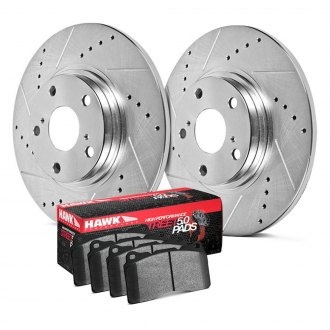 Hawk® - Sector 27 HPS 5.0 Drilled and Slotted Rear Brake Kit with High Performance Street 5.0 Pads
