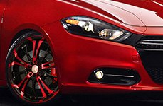 HD® - SPINOUT Gloss Black with Red Face on Dodge Dart