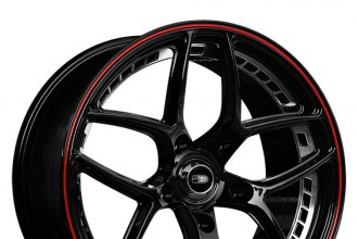 "HD® - OVERDRIVE Gloss Black with Machined Rivet and Red Pinstripe (18"" x 8.5"", +36 Offset, 5x120.65 Bolt Pattern, 74.1mm Hub)"