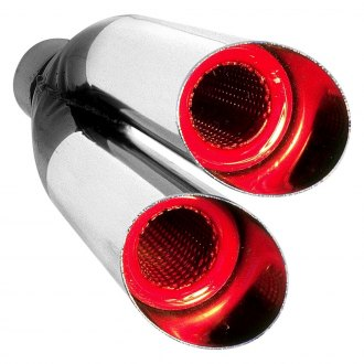 "Hedman Hedders® - HotTip Resonator Style Round Angle Cut Dual Exhaust Tip (2.25"" Inlet, 2.5"" Outlet, 9"" Length)"