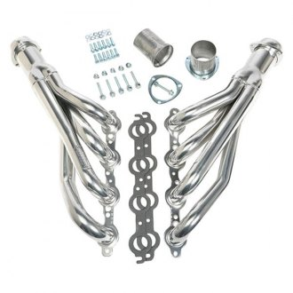 Hedman Hedders® - Standard Duty Mild Steel HTC Polished Silver Ceramic-Metallic Mid-Length Tube Racing Exhaust Headers