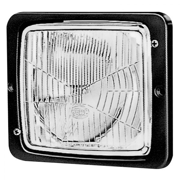 "HELLA® - 5.4""x4.8"" Square Flush Mount Headlights with Clear Lens, Position Lamp"