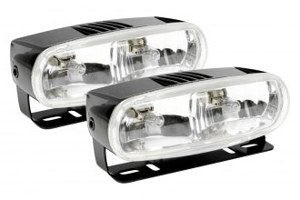 HELLA® - Model 2020 Black 12V Dual Beam Rectangle Halogen Fog Lamp Kit with Clear Lens