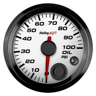 "Holley® - 2-1/16"" White Oil Pressure Gauge"