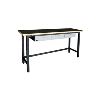 "Homak® - 79"" Steel Workbench With Wood Top 3 Drawers"