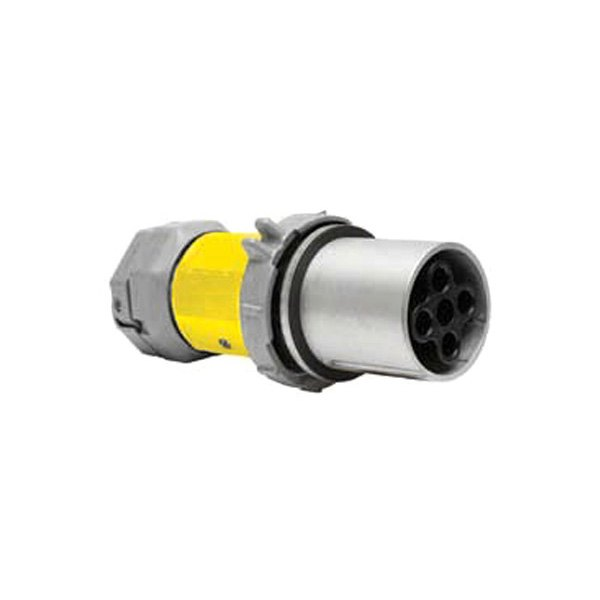 Hubbell® - 200A 600V 4 Pole Gray/Yellow Female Connector Body with Locking Ring