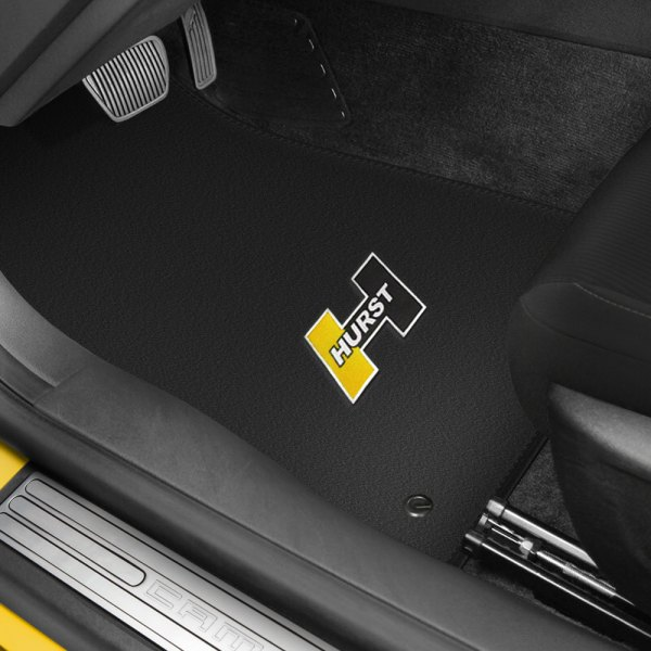 Hurst Shifters® - 1st & 2nd Row Black Floor Mats Set with Hurst Gold Logo