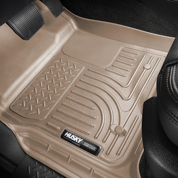Image may not reflect your exact vehicle! Husky Liners® - WeatherBeater™ 1st & 2nd Row Tan Floor Liners