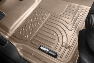 Image may not reflect your exact vehicle! Husky Liners® - 1st Row Tan WeatherBeater Floor Liners