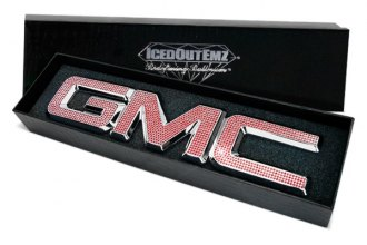 IcedOutEmz® GMC-LG-RED - 3D Chrome Grill GMC Emblem with Red Crystals