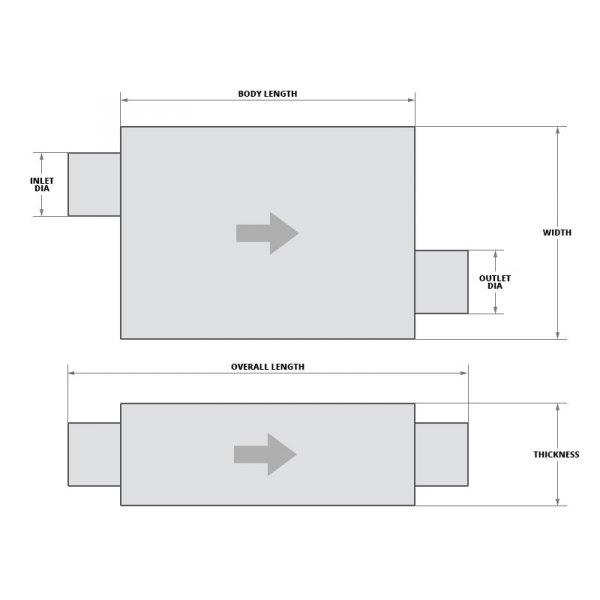 "Borla 40352 Universal ProXS Muffler 19/"" Stainless Steel Oval 2.5/"" Offset//Offset"