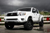 White Toyota Tacoma with bolt on fender flares