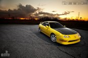 Yellow Acura Integra Goes in Style Wearing Carbon Fiber Hood