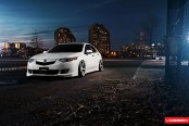 Vossen Wheels Adorning Slammed White Acura TSX