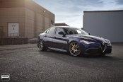 Dark Blue Alfa Romeo Guilia Shod in Anthracite PUR Wheels