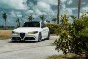 Custom Color on Aftermarket LED Headlights Gives White Alfa Romeo Guilia an Attitude