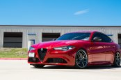 Exotic Italian Elegance of Red Alfa Romeo Guilia Accentuated by Acealloy Wheels