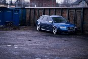 Blue Audi A4 Boast Chrome JR Wheels and Improved Lighting