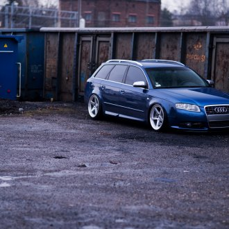 Crystal Clear Headlights on Blue Audi A4 - Photo by JR Wheels