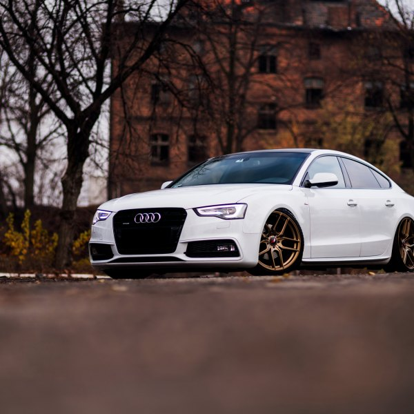 Front Bumper with Fog Lights on White Audi A5 - Photo by JR Wheels