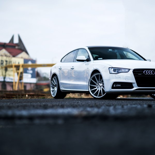 White Audi A5 with Blacked Out Grille - Photo by JR Wheels