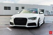 Reworked Face of White Audi A6 with Blacked Out Mesh Grille