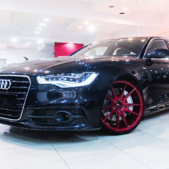 Black Audi A6 with Custom LED Headlights - Photo by JR Wheels