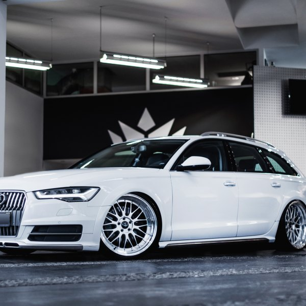 White Audi A6 with Custom LED Headlights - Photo by JR Wheels
