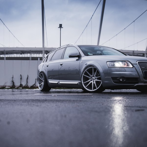 Gray Audi A6 with Chrome Billet Grille - Photo by JR Wheels