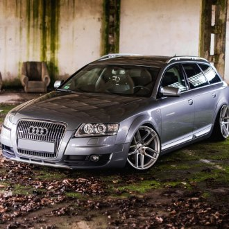 Gray Audi A6 with Aftermarket Halo Headlights - Photo by JR Wheels