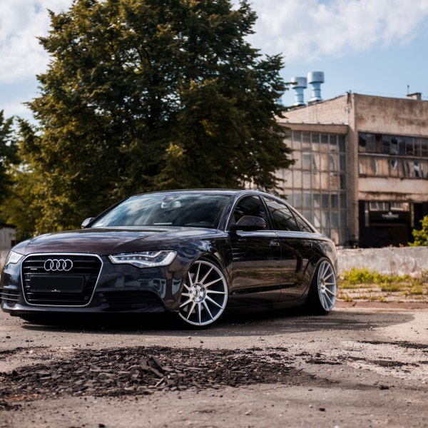 Black Audi A6 with Custom Headlights - Photo by JR Wheels