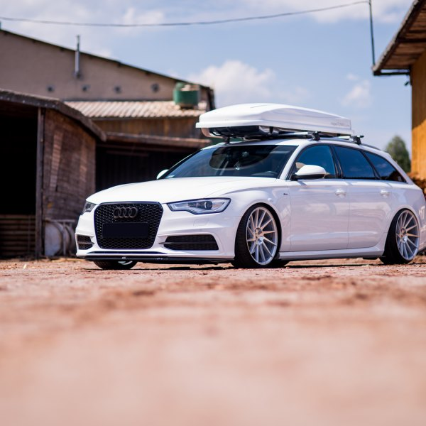 Blacked Out Mesh Grille on White Audi A6 - Photo by JR Wheels